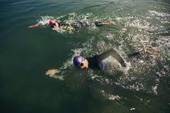 三项全能竞争的游泳部分 免版税库存图片