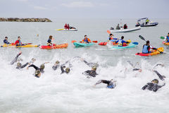 三项全能巴塞罗那-游泳 免版税库存照片
