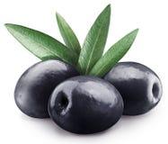 三颗黑橄榄。 免版税库存图片