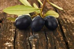 三颗黑橄榄 免版税库存照片