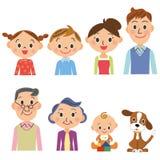 三代家庭集合 向量例证