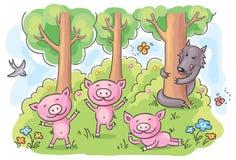 三头小的猪童话 库存照片