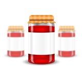 三玻璃瓶子的现实嘲笑有果酱在白色背景的家保存的 向量例证