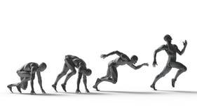 三维白色人奔跑 免版税图库摄影