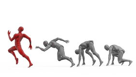 三维白色人奔跑 免版税库存图片