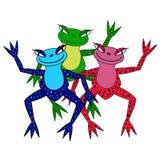 三滑稽的五颜六色的青蛙的传染媒介例证 库存例证
