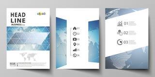 三A4格式现代盖子编辑可能的布局的传染媒介例证设计小册子的,杂志模板 向量例证