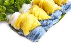 三Steamed米皮肤饺子的颜色 免版税库存照片