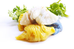 三Steamed米皮肤饺子的颜色 免版税库存图片