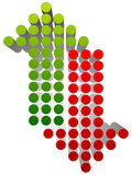 上上下下指向绿色和红色的箭头 平直的垂直的小点 库存照片