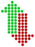 上上下下指向绿色和红色的箭头 平直的垂直的小点 库存图片