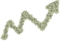 上升倾向由美元做成作为财政成长的标志 库存图片