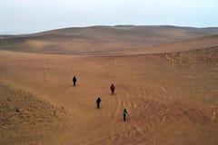 上升到沙丘的人们在Paracas离开, Ica,秘鲁 图库摄影