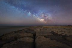 上升在一只跳船的银河在新泽西 免版税库存照片