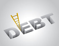 上升在债务外面 免版税库存照片