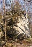 上升在岩石的妇女 免版税库存照片
