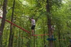 上升在树的父亲和女儿照片  免版税图库摄影