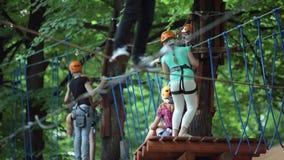 上升在树,室外孩子比赛 孩子绳索公园 冒险活动在森林里 影视素材