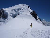 上升的勃朗峰在法国 库存照片