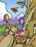 上升的孩子岩石 库存图片