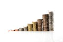 上升的泰铢硬币 免版税库存照片