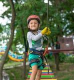 上升的活动的男孩在钢丝森林公园 桌山空中览绳再哄骗专辑  库存照片