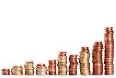 上升的硬币堆  免版税库存照片