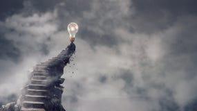 上升石的方式  混合画法 库存照片