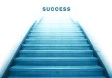 上升至成功文本的楼梯 库存图片