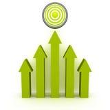 上升绿色箭头到成功目标 免版税图库摄影