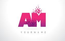 上午A.M.与桃红色紫色颜色和微粒小点Des的Letter Logo 图库摄影