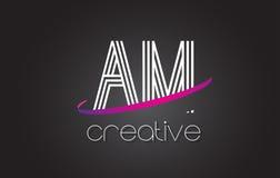 上午A.M.与线设计和紫色Swoosh的Letter Logo 免版税图库摄影