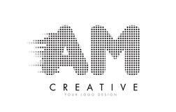 上午A.M.与黑小点和足迹的Letter Logo 库存照片