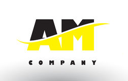 上午A.M. Black和黄色与Swoosh的信件商标 库存图片