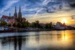 上午Regensburger Donauufer 库存照片