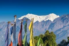 登上南Kabru被留下的和北部Kabru权利, Himlaya山脉 免版税库存照片