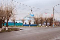 上古的纪念碑-圣洁传道者彼得的白蓝色教会和保罗1824 免版税库存照片