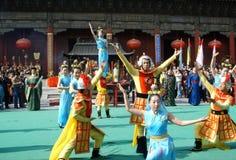 登上台山庆祝仪式在中国 免版税库存照片
