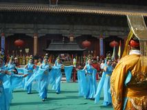 登上台山庆祝仪式在中国 图库摄影