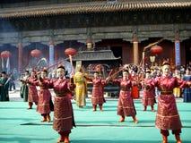 登上台山庆祝仪式在中国 库存图片