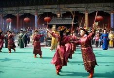 登上台山庆祝仪式在中国 库存照片