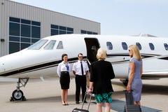 上喷气机的乘客 免版税库存照片