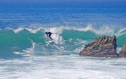 上在波浪的冲浪者骑马在拉古纳海滩,加州 免版税库存图片