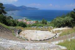 上城古老海岛thassos剧院 库存图片