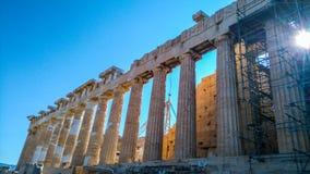 上城古老雅典希腊帕台农神庙 库存图片