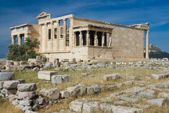 上城古老雅典erechtheion gre寺庙 免版税库存照片