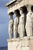 上城古老erechtheum希腊寺庙 图库摄影