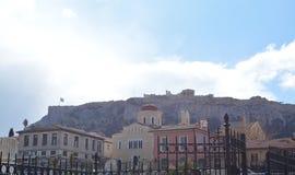 上城在上面的雅典 免版税库存图片