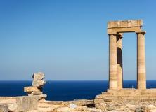 上城希腊lindos罗得斯 库存照片