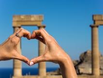 上城希腊lindos罗得斯 免版税库存图片